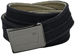 Levis Mens Washed Cotton Reversible Web Belt, Black/Khaki, One Size