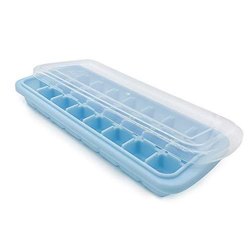 Prevently Eiswürfelform Eiswürfelbereiter Eiswürfelbehälter Eisform Eiswürfelschale Deckel Silikon Eiswürfelschale 24 Würfel Küche Bar Werkzeuge Geräte Jelly Cube Mold Tray (Blau) Blau Tray