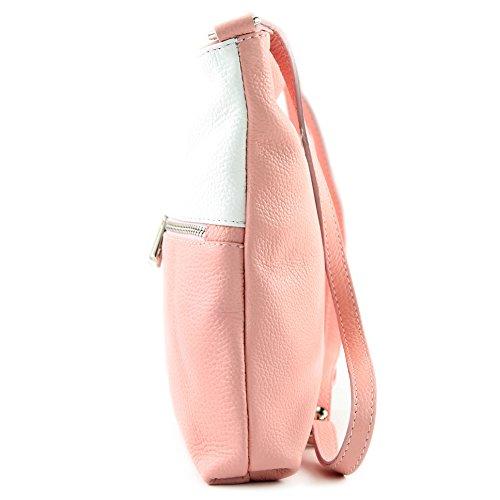 modamoda de -. borsa in pelle ital signore borsa a tracolla di crossover Cartella in pelle T144 Rosa/Weiß