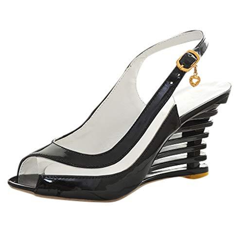 LILIHOT Damen Sandalen Mode Zurück mit Schnalle mit Fisch Mund Steigung Hohe Ferse Größe Schuhe Sommer Rivet Sandalen Flache Offene Zehe Komfort Kreuz Gürtel Braid Cool