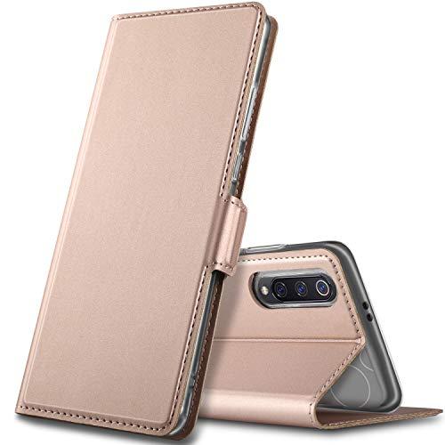GEEMAI Diseño para xiaomi Mi 9 Funda, Protectora PU Funda Multi-ángulo a Prueba de Golpes y Polvo a Prueba de Silicona con Soporte Plegable Apto para xiaomi Mi 9 Smartphone. (Oro Rosa)