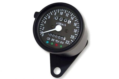 60mm Universal Tacho Rund bis 220 km/h Schwarz Tachometer Motorrad