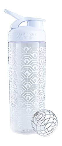 BlenderBottle Signature Sleek Shaker| Eiweiß Shaker | Wasserflasche | Protein Shaker mit Blenderball | 820ml - White Clamshell