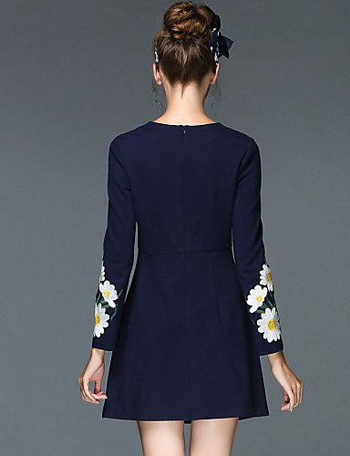 LYQ/ Robe Aux femmes Grandes Tailles Grandes Tailles / Vintage / Soirée / Travail / Décontracté , Fleur Col Arrondi Au dessus du genouCoton / black-4xl