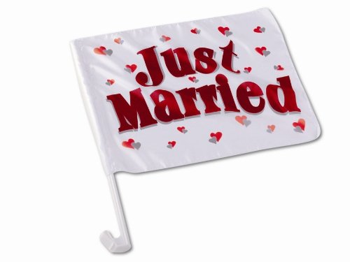 """tib Autoflagge """"Just Married"""", 40 x 30 cm, 1 Stück"""
