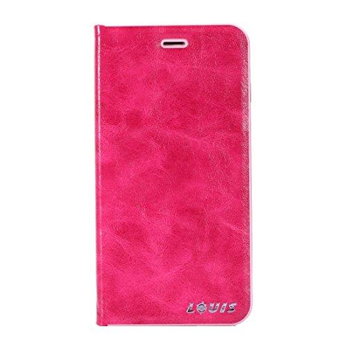 Hülle für iPhone 7 plus , Schutzhülle Für IPhone 7 Plus Crystal Texture PC Full Coverage Horizontale Flip Leder Tasche mit Halter & Card Slots ,hülle für iPhone 7 plus , case for iphone 7 plus ( Color Magenta
