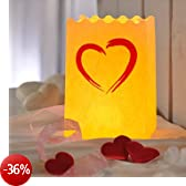 Wenko Luminaria cuore Brushstroke portacandela antivento, Set da 8pezzi, carta, cartone, cellulosa, design, 11x 16x 9cm