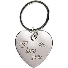 44ae32de2841 Ton d Argent Acier Inoxydable Porte-Clés Coeur Coeur Couple Amour Amoureux.  Porte-clés en forme de cœur avec gravure « I love you » Chromé –