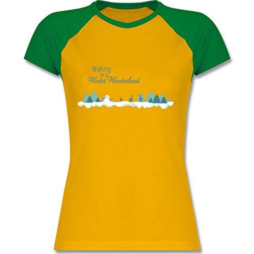 Weihnachten & Silvester - Walking in a Winter Wonderland Schnee - zweifarbiges Baseballshirt / Raglan T-Shirt für Damen Gelb/Grün
