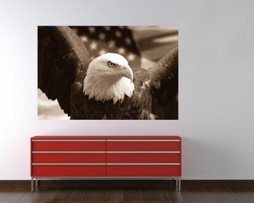 selbstklebende Fototapete - American Eagle mit Flagge - sephia - sepia - 180x120 cm - Tapete mit Kleber – Wandtapete – Poster – Dekoration – Wandbild – Wandposter – Wand – Fotofolie – Bild – Wandbilder - Wanddeko (Amerikanische Flagge Wand Poster)