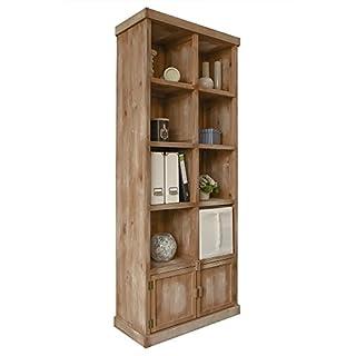 abritus Regal Bücherregal 8 Fächer Kiefer Holz Patina Antik braun-weiß 2D/10S