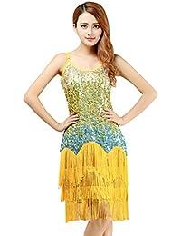 FEOYA - Falda de Baile Latino para Mujeres Ropa Vestido de Bailar con  Lentejuelas Borlas Largas Cha Cha Salsa Tango… 153e77dbe21