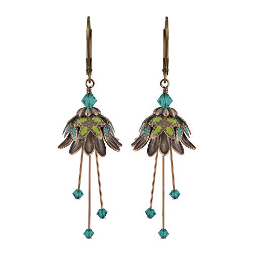 NoMonet Hand Painted Flower Fairy Earrings - Daisy Oracle Earrings - Gold, Green and Teal -