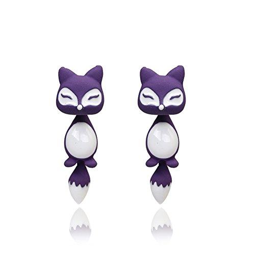 Distinct® 1 par hermosa joyería Animal zorro Pendientes Stud Piercing joyas regalo del oído (púrpura)