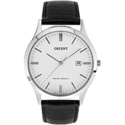 Orient Men's 38mm Black Leather Band Steel Case Quartz White Dial Analog Watch FUNA1003W