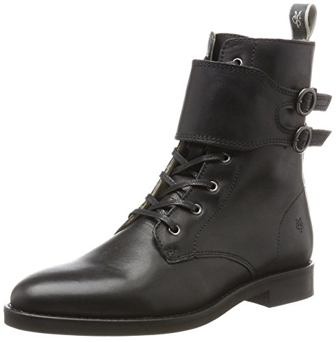 Marc O'Polo Lace Flatheel Bootie 70814226301124, Damen Combat Boots, Schwarz (Black), 40 EU (6.5 UK) (Boot Black Mops)