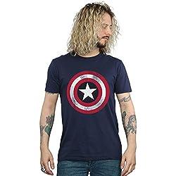 Camiseta Capitán América Distressed Shield de manga corta de Marvel Comics (Azul marino)