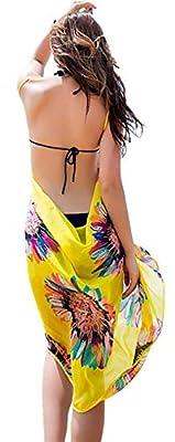 BJAC Women Yellow Floral V Neck Swimwear Bikini Beach Cover Up Sarong with Side net Regular Panty + one Pair Earring Free