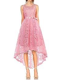 MONYRAY Vestito Donna Elegante Cerimonia in Pizzo Floreale Abito da Sera  Corto Davanti Lungo Dietro 4f3c74ad8f4