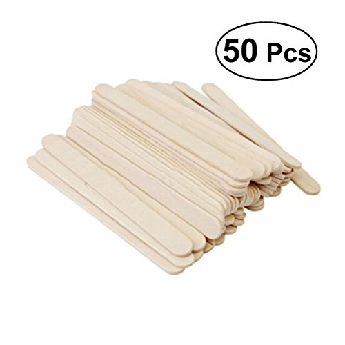 ounona Holz Sticks Popsicle Eis Lolly Sticks Craft Sticks - 50 Stück, Creme