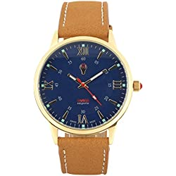 Swiss Emporio Men's Quartz Swiss Made Watch with Blue Dial Analogue Display and Brown Leather Strap SE03Blgl10