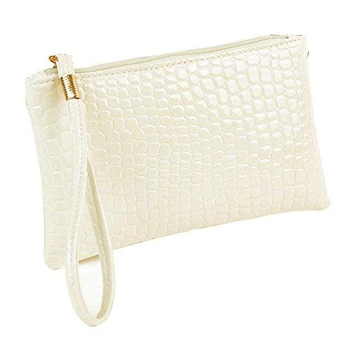 Damen Clutch Piebo Frauen Tasche Abendtasche Krokodil Muster PU Leder Envelope Handtasche Schultertasche Unterarmtasche Damentasche (Weiß)