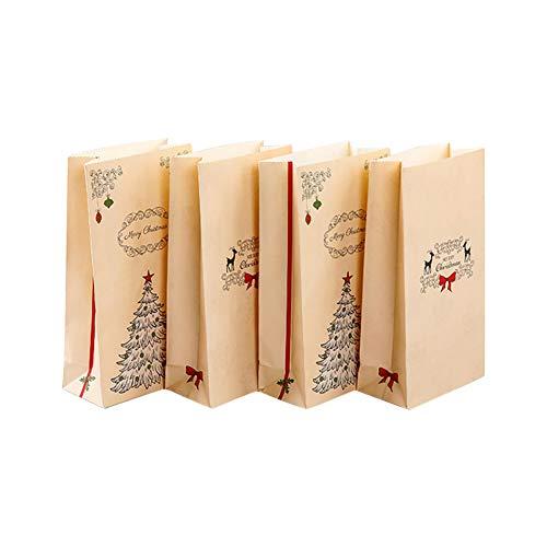 Cosanter 24 Pcs Sac à gâteaux de Noël Kraft Stand Up Pouch réutilisable refermables Grip Seal Sacs de Stockage de Nourriture Sac d'emballage Pochettes