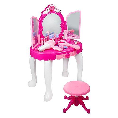EBTOOLS - Tocador de Juguete para niños, de imitación de peluquería, Mesa de Maquillaje, con Espejo, Taburete, secador de Pelo, Joya y cosmético, Juguete de tocador para niña, Color Rosa