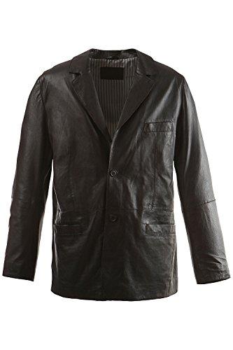 JP 1880 Herren große Größen bis 7XL | Lederjacke schwarz | Lamm-Nappaleder | Jacke mit Reverskragen, zwei Knöpfen & V-Ausschnitt | schwarz 3XL 702413 10-3XL