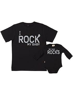 SR - Exklusive Geschenkbox - Dad Rocks & Rock My Baby 100% Biobaumwolle - Papa T-Shirt & Baby Strampler in Geschenkbox