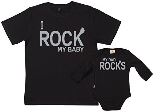 SR - My Dad Rocks & Rock My Baby conjunto de regalo para padres y bebés - En caja de regalo - padre camiseta & bebé body, negro, L & 0-6 meses