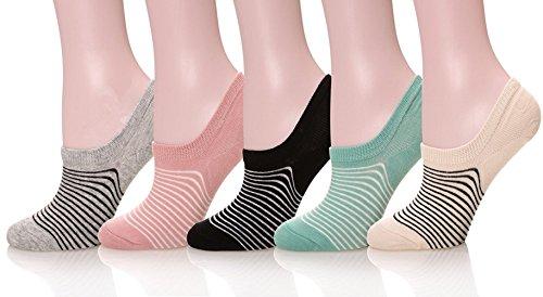 Hanmorlla 5 Per Damen Füßlinge Baumwolle Sneaker Socken mit Rutschfest Silikon Ballerina Bunte Kurze Socken (Eine Größe passen 35-44) (Ballerina Set Sock)