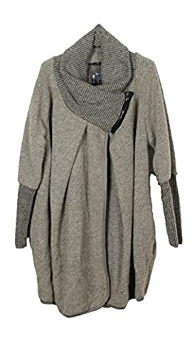 Ladies Womens Italian Lagenlook Quirky Layer Wool Zip Long Sleeve Cocoon Coat Jacket Poncho Cape Oversize One Size Plus UK 10-14 (One Size Plus, Mocha)