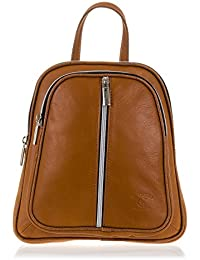 FIRENZE ARTEGIANI.Mochila de mujer casual piel auténtica.Mochila bolso mujer cuero genuino,dollaro. Daypack con asa y correa hombro. MADE IN ITALY. VERA PELLE ITALIANA. 21x25x6 cm. Color: MARRON