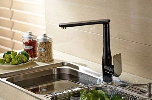 Robinet cascade du robinet du robinet de robinet Le robinet de cuisine en cuivre sans plomb eau chaude et froide évier lave-vaisselle robinet blanc, noir, chrome brillant, peinture tricolore noire +