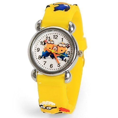 Image of Cute Despicable Me Rubber Watchband Round Dial Mini Shape Watch - Random Pattern - Yellow