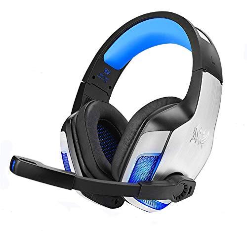 Nasharia Gaming Headset für PS4 Xbox One PC PSP, 3D Surround Sound G5300 Gaming Kopfhörer mit Aluminiumgehäuse, Mikrofon, LED Light Bass Surround für Computer Laptop Mac Nintendo Switch Spiele