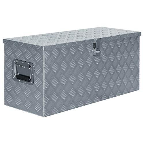 Festnight Aluminiumkiste | Allzweck Transportkoffer | Deichselbox | Staukasten | Alukiste Alubox | mit Schließsystem | Silbern 90,5×35×40 cm