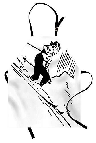 Americana-Schürze, Zeichnung eines Frauenskifahrers, der den Hügel hinunter extremer Abenteurer, Unisexküchen-Latz-Schürze mit justierbarem Hals für das Kochen backend Gartenarbeit, Holzkohle graues ()