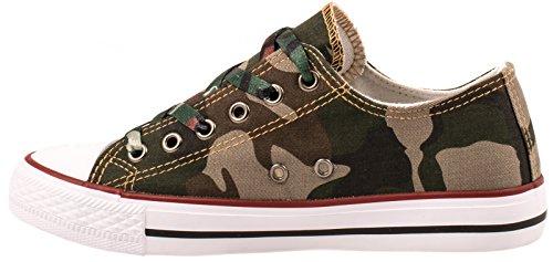 Elara Unisex Sneaker   Bequeme Sportschuhe für Herren und Damen   Low top Turnschuh Textil Schuhe 36-46 Camouflage