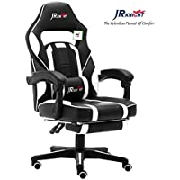 JR Knight LC-04BKBL Ergonomic Gaming Chair With Footrest, Proffessional Gamer Design Home Office Computer Executive Swivel Racing Chair, PU Leather Padding Desk Chair With Recliner and Chrome Base (Black&White)