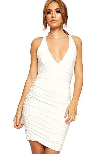Wearall - Damen Stürzen V-Ausschnitt Strappy Geraffte Bodycon Mini Kleid Damen Geöffnet Zurück Quer - 36-42 Creme
