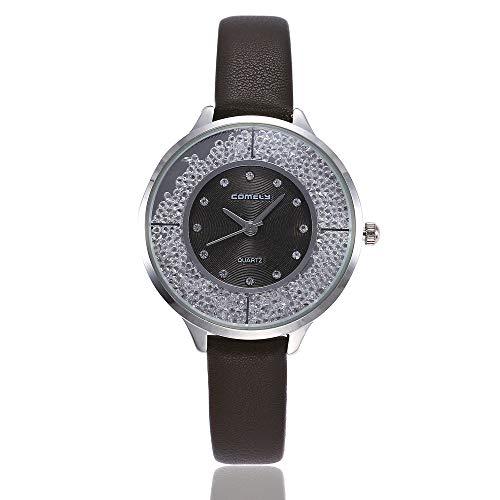 Preisvergleich Produktbild Luckhome Fashion Damenuhr Mit Zifferblatt Und Lederband In Damenmode Analoge Quarz-Runde Armbanduhr Uhren Unregelmäßige Quarzuhr(Kaffee)