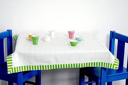 IKEA Kindertischdecke 'DUKTIG' Tischauflage in 70x70 cm - weiß mit Bordüre - geeignet für die Kindertische Kritter, Lätt, Mammut u.v.m.