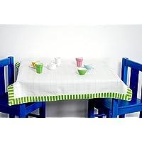 """Preisvergleich für IKEA Kindertischdecke """"DUKTIG"""" Tischauflage in 70x70 cm - weiß mit Bordüre - geeignet für die Kindertische Kritter, Lätt, Mammut u.v.m."""