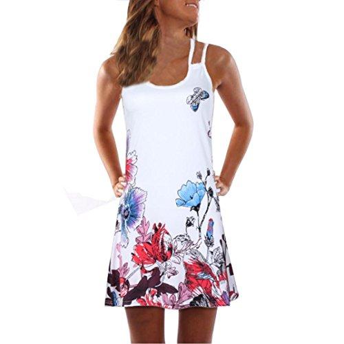 VEMOW Sommer Elegante Damen Frauen Lose Vintage Sleeveless 3D Blumendruck Bohe Casual Täglichen Party Strand Urlaub Tank Short Mini Kleid(Weiß 6, EU-42/CN-XL) -