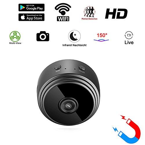Mini Kamera PHISON 1080P Überwachungskamera Minikamera Kindermädchen Wlan Wifi Kamera Mikro Cam mit IR Nachtsicht / Bewegungserkennung mit Bild / Video für Haus /Baby Überwachung ( bis zu 128GB )