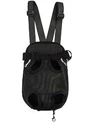 MerryBIY Portátil Bolsa Pecho Delantero de Viaje Mochila de Portador del Bolso Neto para Perro del Animal Doméstico Gato de Pequeño(Negro, M)