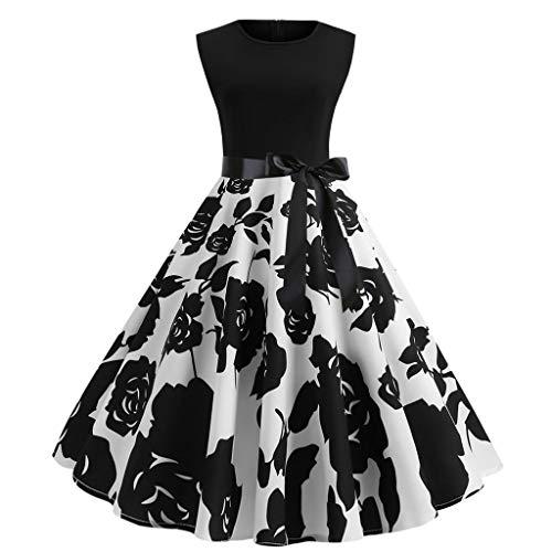 VECOLE Damenoberteile Vintage Rundhals Ärmellos Blumenmuster Mode Lässig Party Ballkleid Rock Damen Kleiden(Weiß,XL) -