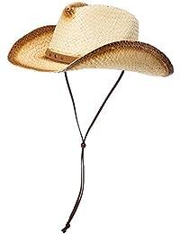SIGGI unisex Cowboy Stroh Hüte Formbare Krempe mit Kinnriemen